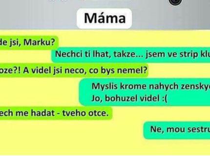 Uprimna sms medzi mamou a synom :D